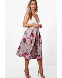 Boohoo Plus Floral Print Scuba Midi Skirt - Pink
