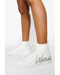 Boohoo Offical Canvas High Top Sneakers - White