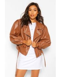 Boohoo Oversized Sleeve Faux Leather Jacket - Brown
