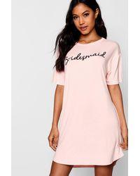 Boohoo Womens Nachthemd mit Bridesmaid-Slogan - Natur