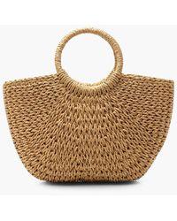 Boohoo Circle Handle Straw Bag - Natural