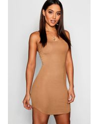Boohoo - Jersey Square Neck Curved Hem Mini Dress - Lyst