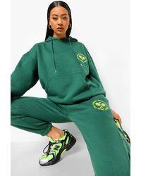 Boohoo Chándal Ancho Con Bordados De Tenis - Verde