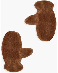 Boohoo Womens Teddy Borg Mittens - Brown