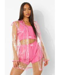 Boohoo Impermeable Transparente Con Costuras Adheridas Daisy - Rosa