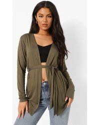 Boohoo Belted Jersey Kimono - Green