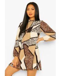 Boohoo Petite Mixed Animal Print Sheered Smock Dress - Nero