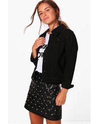 Boohoo Womens Petite Jacke Aus Denim Western-Style - Schwarz