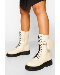 Boohoo Wide Fit Calf High Hiker With Pouch - Natural