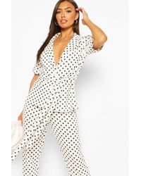 Boohoo Womens Polka Dot Peplum Blazer Tailored Suit Set - Weiß