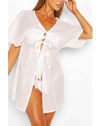Boohoo Tie Detail Beach Kaftan - White