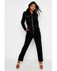 Boohoo Tall Contrast Stitch Denim Boiler Suit - Black