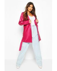 Boohoo Leather Look Pu Belted Wrap Jacket - Multicolor