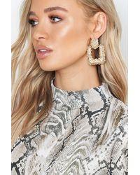 Boohoo Womens Quadratische, Strukturierte Ohrringe Oversized - Mettallic