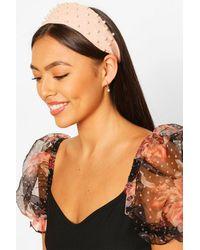 Boohoo Wide Pearl Headband - Pink