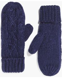 Boohoo Ava Cable Knit Mittens - Blue