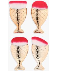 Boohoo 4 Piece Gold Mermaid Brush Set - Metallic