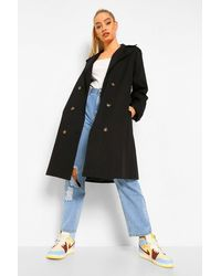 Boohoo O Ring Detail Belted Trench Coat - Black