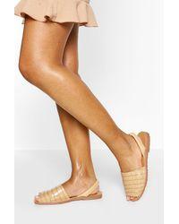 Boohoo Croc Two Part Sandals - Natural