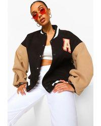 Boohoo Patch Letter Oversized Varsity Jacket - Black