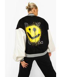 Boohoo Face Print Oversized Varsity Bomber Jacket - Black