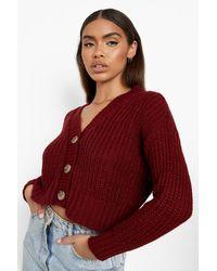Boohoo Chunky Knit Crop Cardigan - Red