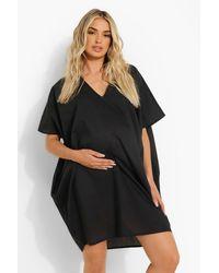 Boohoo Maternity Slouchy Mini Dress - Negro
