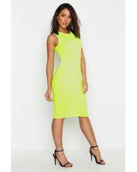 Boohoo Neon Rib Fitted Midi Dress - Yellow