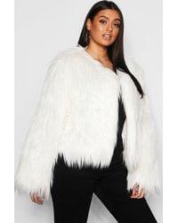 Boohoo Plus Shaggy Faux Fur Jacket - Multicolour