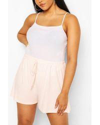 Boohoo Shorts Acampanados Con Cordón Ajustable En Canalé Plus - Multicolor