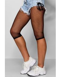 Boohoo - Raw Hem Fishnet Cycling Shorts - Lyst