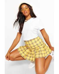 Boohoo Checked Pleated Drop Hem Tennis Skirt - Yellow