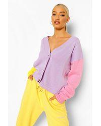 Boohoo Cardigan a blocchi di colore pastello - Viola