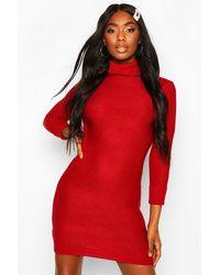 Boohoo Roll Neck Knitted Mini Jumper Dress - Red