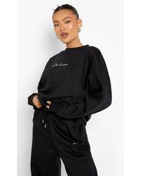 Boohoo Recycled Oversized Embroidered Woman Jumper - Black
