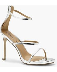 dfd8ef9a05a Lyst - Boohoo Eliza Clear 3 Band Sandal in Natural