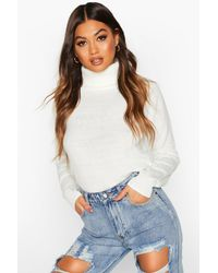 Boohoo Womens Roll Neck Knitted Sweater - White