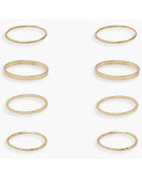 Boohoo Gold Simple Stacking 4 Pack Ring Set - Metallic