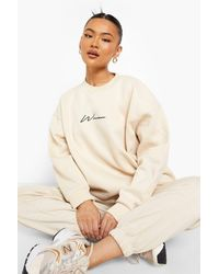 Boohoo Recycled Oversized Embroidered Woman Jumper - Natural