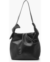 Boohoo Pu Slouch Tote Bag With Knot Detail - Black