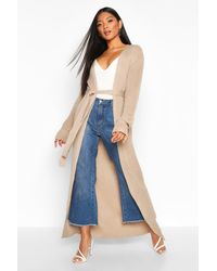 Boohoo Oversized Belted Knitted Cardigan - Natural