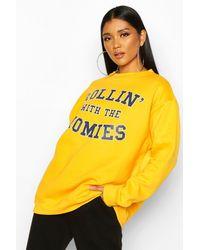 Boohoo Rolling With The Homies Slogan Oversized Sweatshirt - Yellow