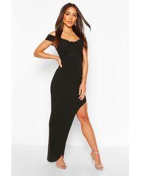 Boohoo Knot Detail Strappy Split Maxi Dress - Black