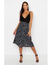 Boohoo Pleated Leopard Print Midi Skirt - Grey
