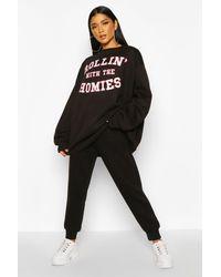 Boohoo Rolling With The Homies Slogan Oversized Sweatshirt - Black