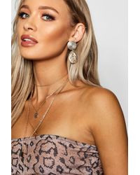 Boohoo - Textured Sovereign Coin Drop Earrings - Lyst