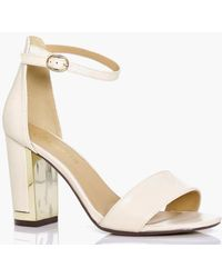 Boohoo | Mia Wide Fit Gold Plated Block Two Part Heels | Lyst