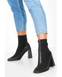Boohoo Womens Knit Panel Black Heel Sock Boots