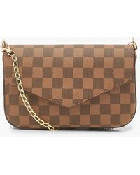 Boohoo Brown Flannel Chain Mini Bag