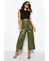 Boohoo Leather Look Wide Culotte With Tie Belt - Green